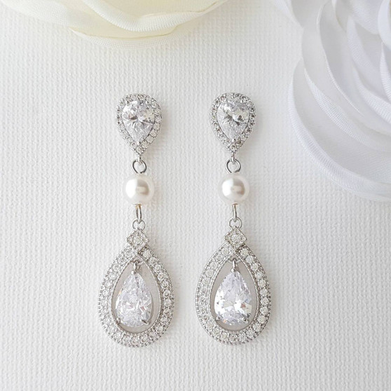 Crystal Wedding Earrings With CZ & Swarovski Pearl- Sarah