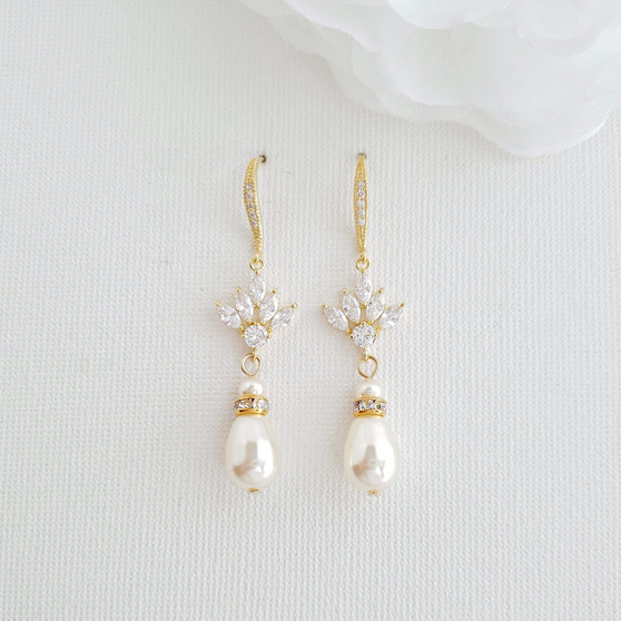 Gold and Pearl  Dangle Earrings for Weddings-Rosa