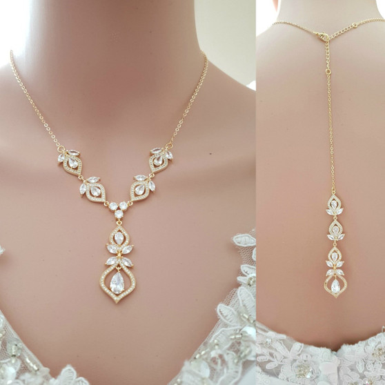Bridal Necklace Crystal Gold Wedding Necklace Rose Gold Back Necklace Backdrop Necklace for Brides, Back Jewelry for Wedding Dress, Meghan