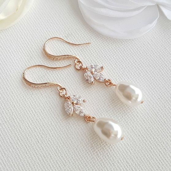 Dangle Pearl Earrings in Rose Gold-Leila