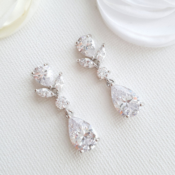 Small Clip on Drop Earrings Silver-Nicole