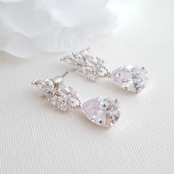 Cubic Zirconia Silver Leaf Earrings -Willow