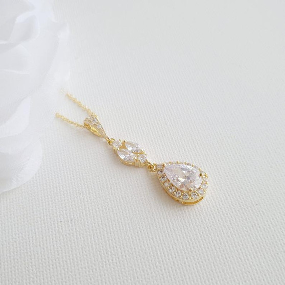 14K Gold Drop Pendant Necklace (1.5 Inches) for Brides & Bridesmaids Gift-Hayley