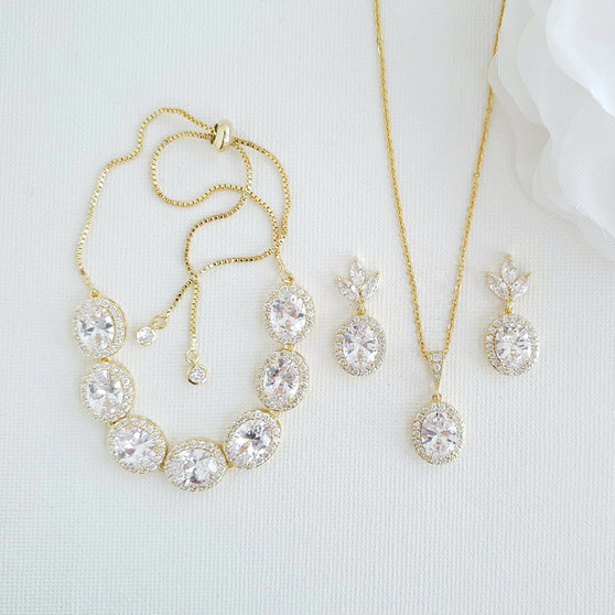 14K Gold Plated Oval Wedding Jewelry Set-Emily
