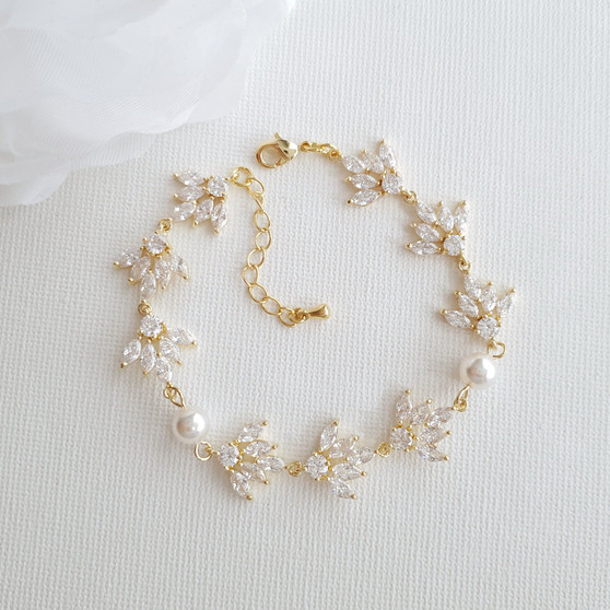 Gold Wedding Bracelet With Cubic Zirconia & Pearls-Rosa