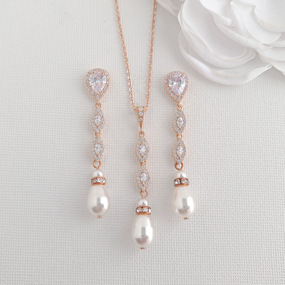 Pearl Wedding Jewellery Set in Rose Gold-Abby