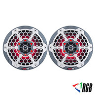 """DS18 HYDRO 8"""" 2-WAY MARINE SPEAKERS WITH INTEGRATED RGB LED LIGHTS 450 WATTS BLACK CARBON FIBER (PAIR)"""