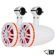 """DS18 NXL8TPNEO HYDRO 8"""" 2-WAY MARINE WAKEBOARD POD TOWER SPEAKERS WITH 1.5"""" COMPRESSION DRIVER AND INTEGRATED RGB LIGHTS 550 WATTS (PAIR)"""