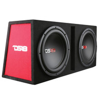 "DS18 BASS PACKAGE 2x10"" SUBWOOFER IN MDF ENCLOSURE WITH AMPLIFIER AND INSTALLATION KIT 1200 WATTS LOADED"
