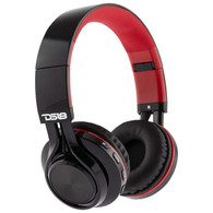 DS18 OVER EAR FOLDABLE BLUETOOTH HEADPHONE WITH MICROPHONE, BLACK AND RED