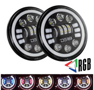 """DS18 JHHL 7"""" LED RGB Headlight Bulb with White Halo Angel Eye Ring For 1997-2018 Jeep Wrangler, JK, LJ, CJ, Sahara Sport Rubicon, Hummer H1, H2, and Harley - Adapters for H4/H13/9004/9007 (SET of 2)"""