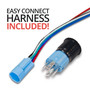 Black Latching 12V Push Button Switch SPDT Blue Halo Ring
