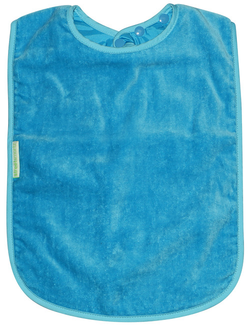 • Easy snap on and adjustable neck • Absorbent velour towelling • Water resistant nylon backing • Machine washable and tumble dry safe