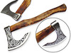 Odin, God of War Viking Axe W/Etched Carbon J2 Steel Head Custom Hand Forged