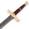 Elite Duelist Damascus Sword Floral Engraved Brass Guard and Pommel Leather Sheath Included