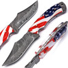 Land of the Free Full Tang Damascus Steel American Flag Handle