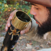 Earth Essence Brass Drinking Horn with Stand