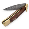 Damascus Great Red Wood Lever Automatic Knife