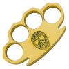 Dalton 10 Ounce Real Brass Knuckles Buckle Paperweight - Skull Green