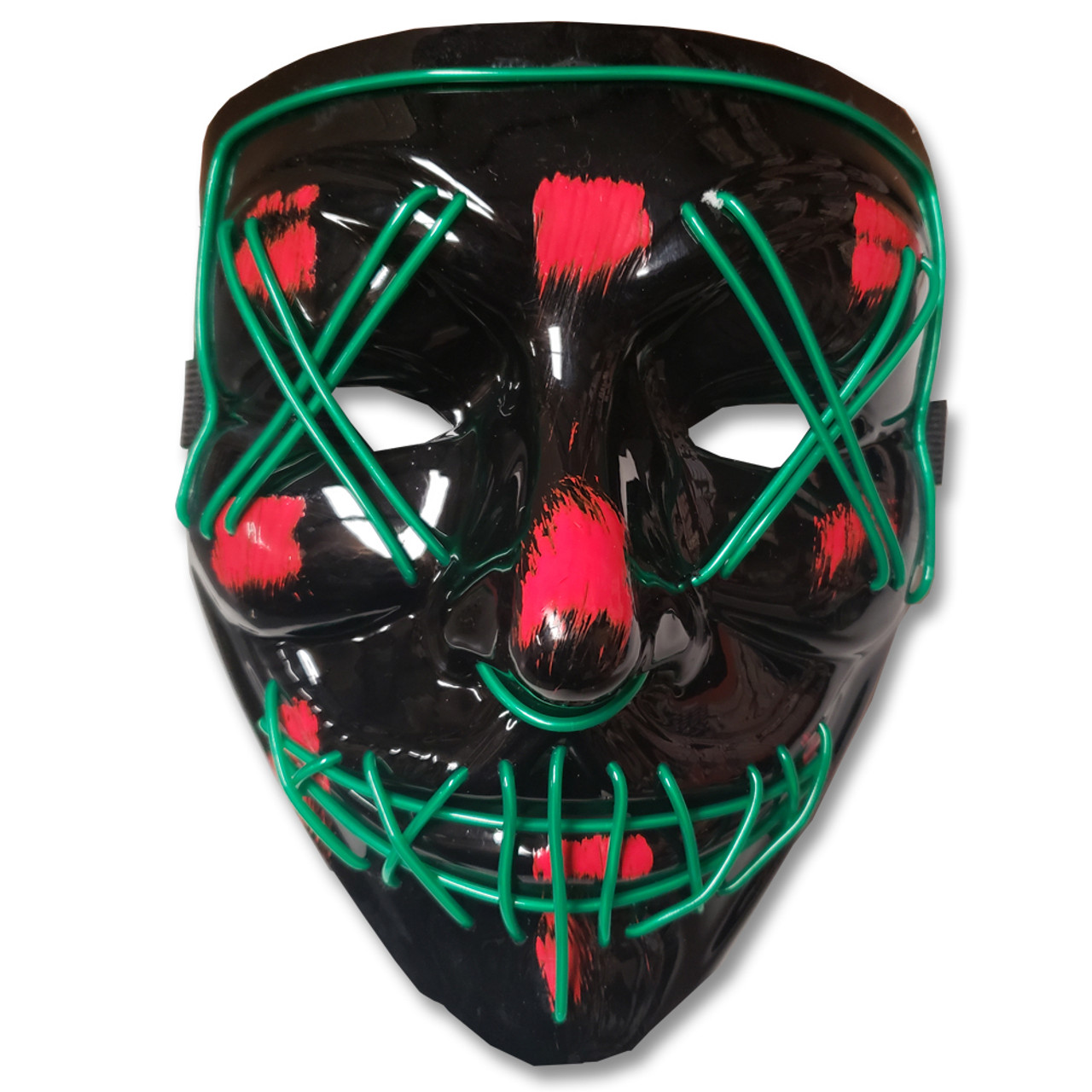EL Wire Ghost Mask Slit Mouth Light Up Glowing LED Mask Halloween Cosplay Glowing Green