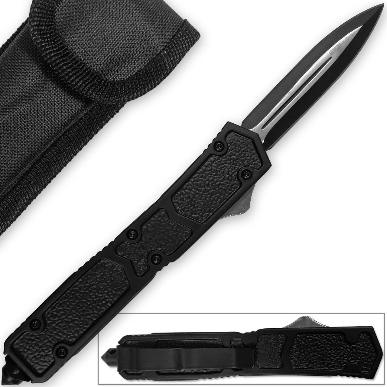 En Garde Spear Point OTF Knife Out The Front Assisted Open Tactical Glass Breaker