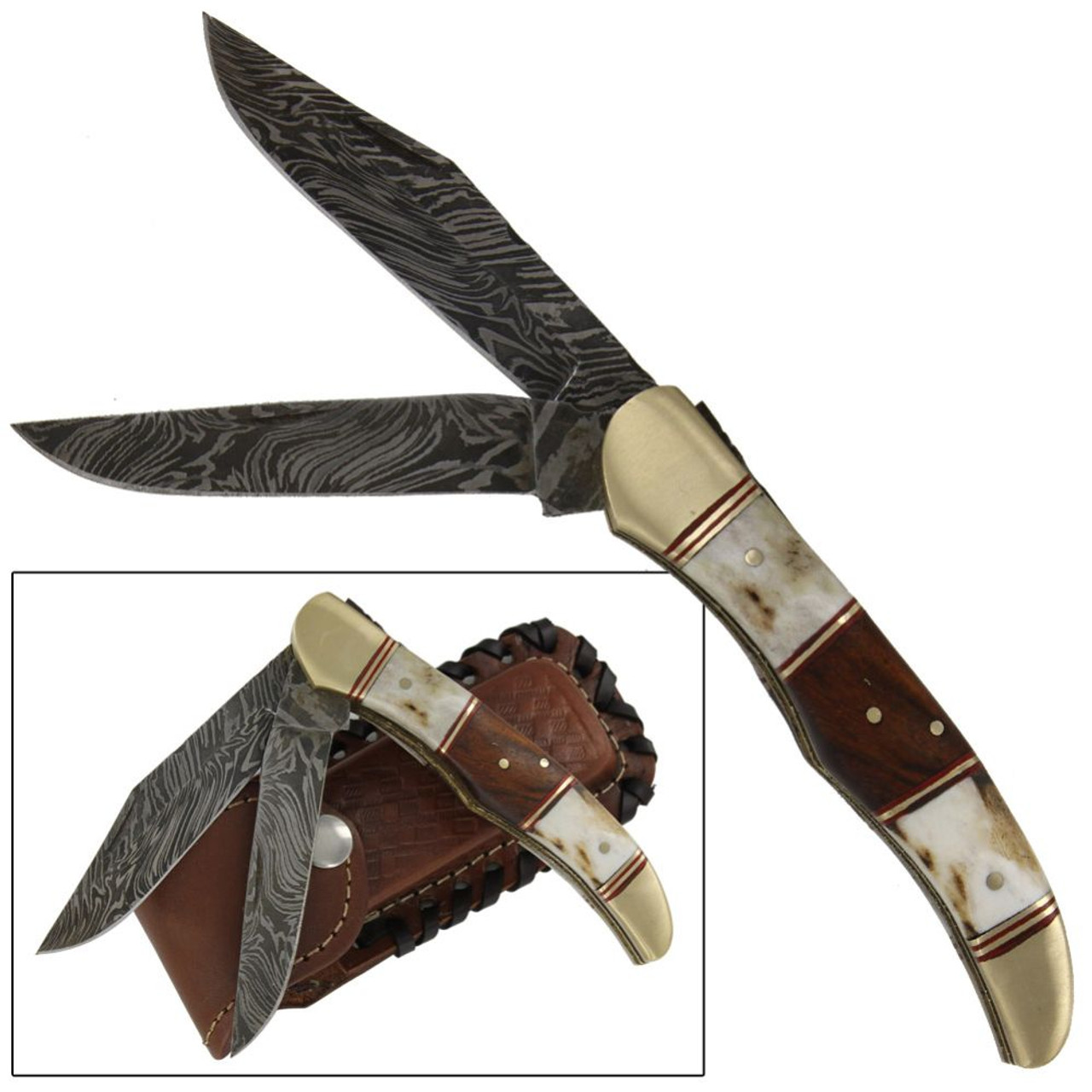 Double Bladed Stag Damascus Folding Knife