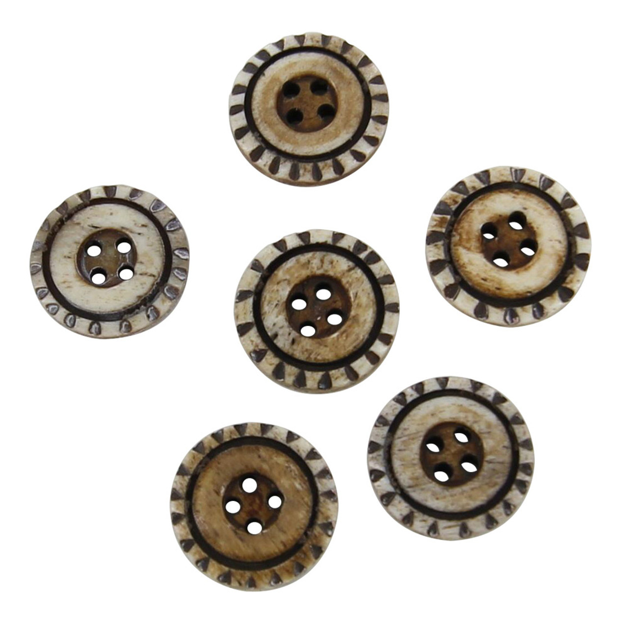 Handcrafted Water Wheel Horn Button Set