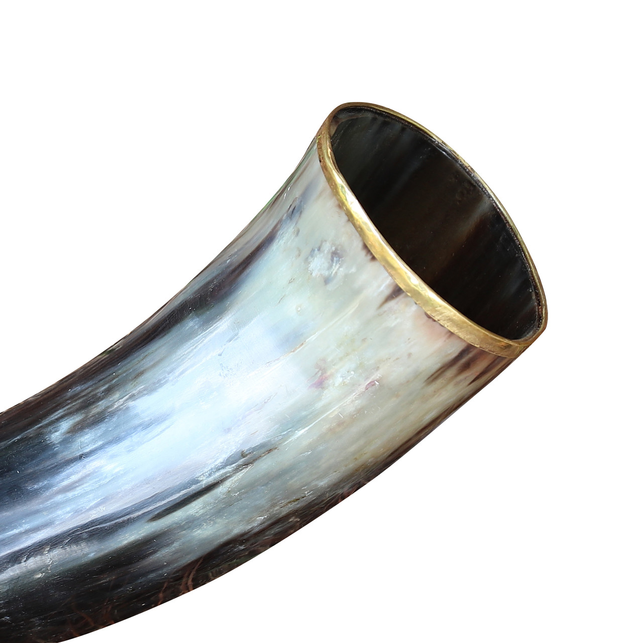 The Hooded Raven 'Ñ¢ Large Pure Brass Rim Drinking Horn Canvas Pouch Included