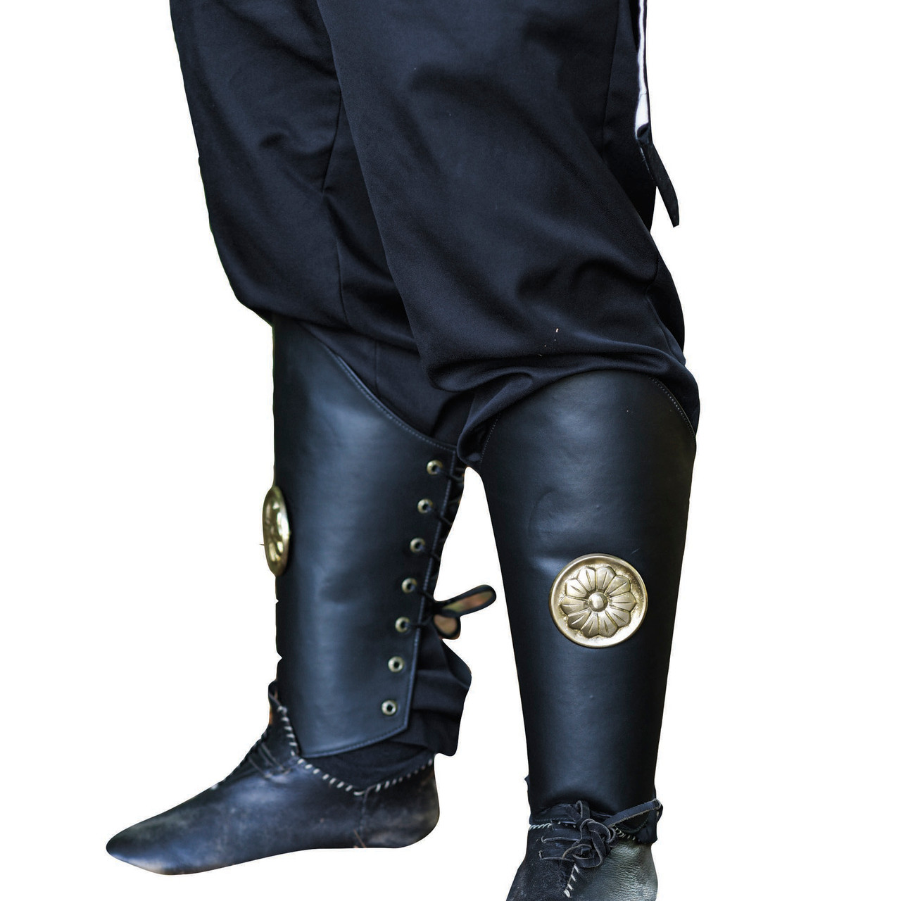 Warrior of Peace Black Leather Leg Armor Greaves