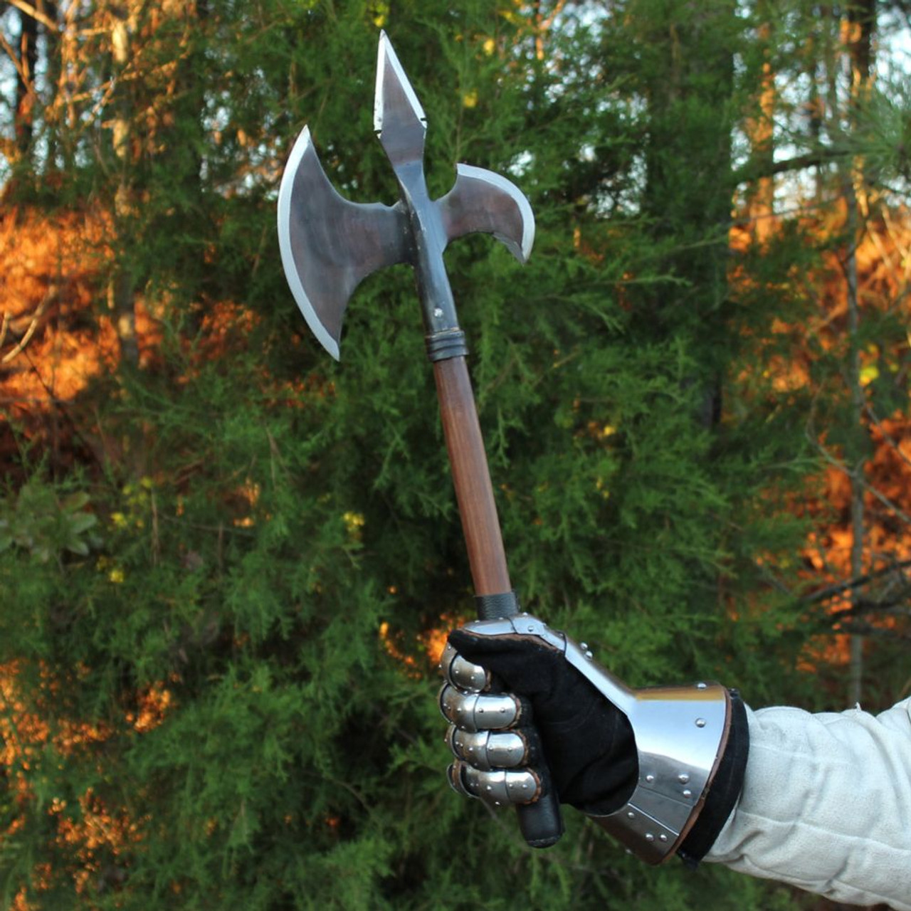 Medieval Triple Edge Forged Battle Axe