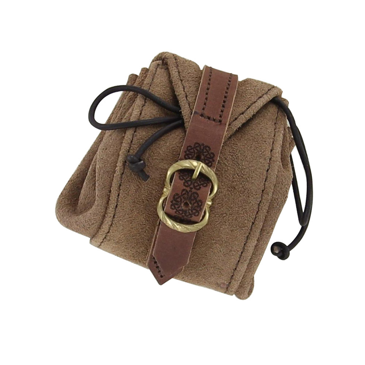 Medieval Small Suede Leather Strapped Drawstring Pouch