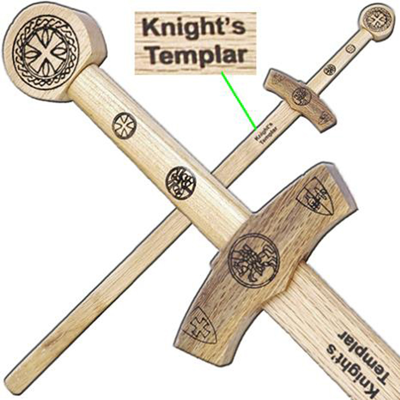 Knights Templar Wooden Medieval Sword 40 Inch Overall