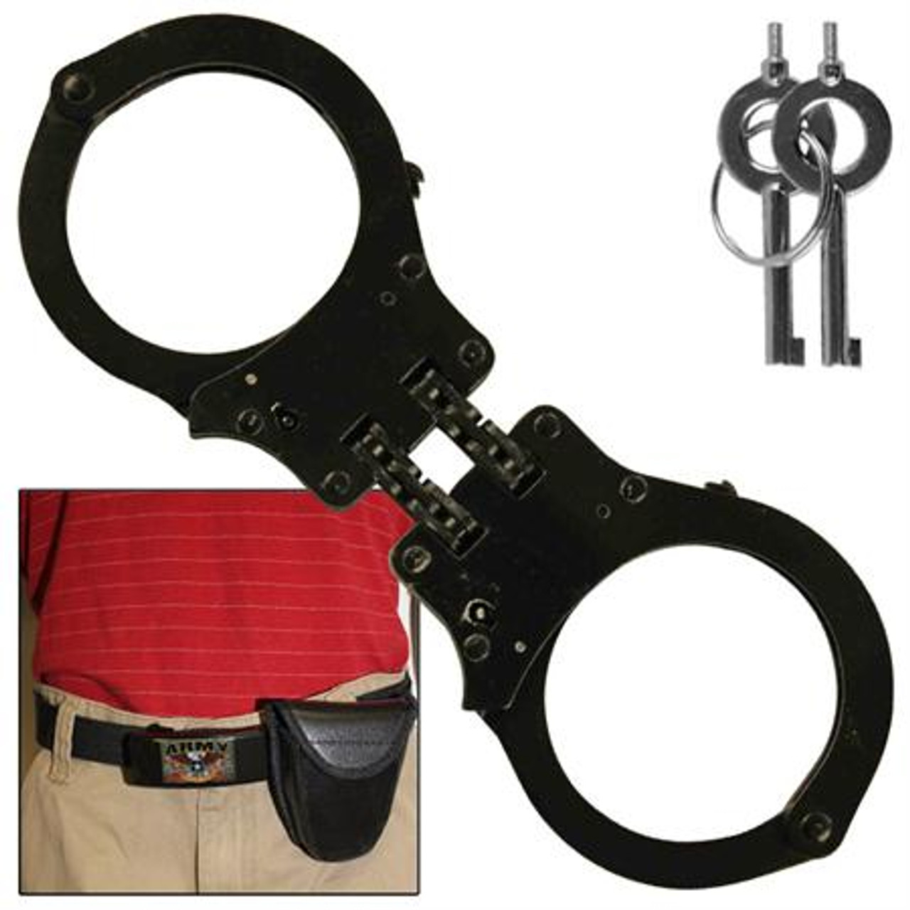 Busted High Security Authentic Double Hinged Handcuff Black AZ115BK - Swords Knives and Daggers Miscellaneous