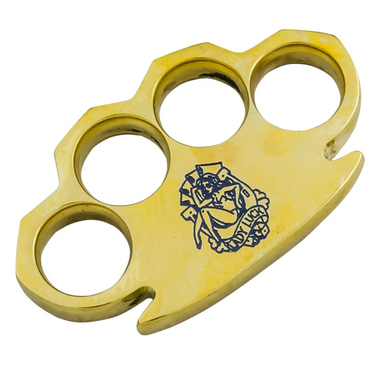 Dalton 10 OZ Real Brass Knuckles Buckle Paperweight - Heavy Duty Lady Luck Blue