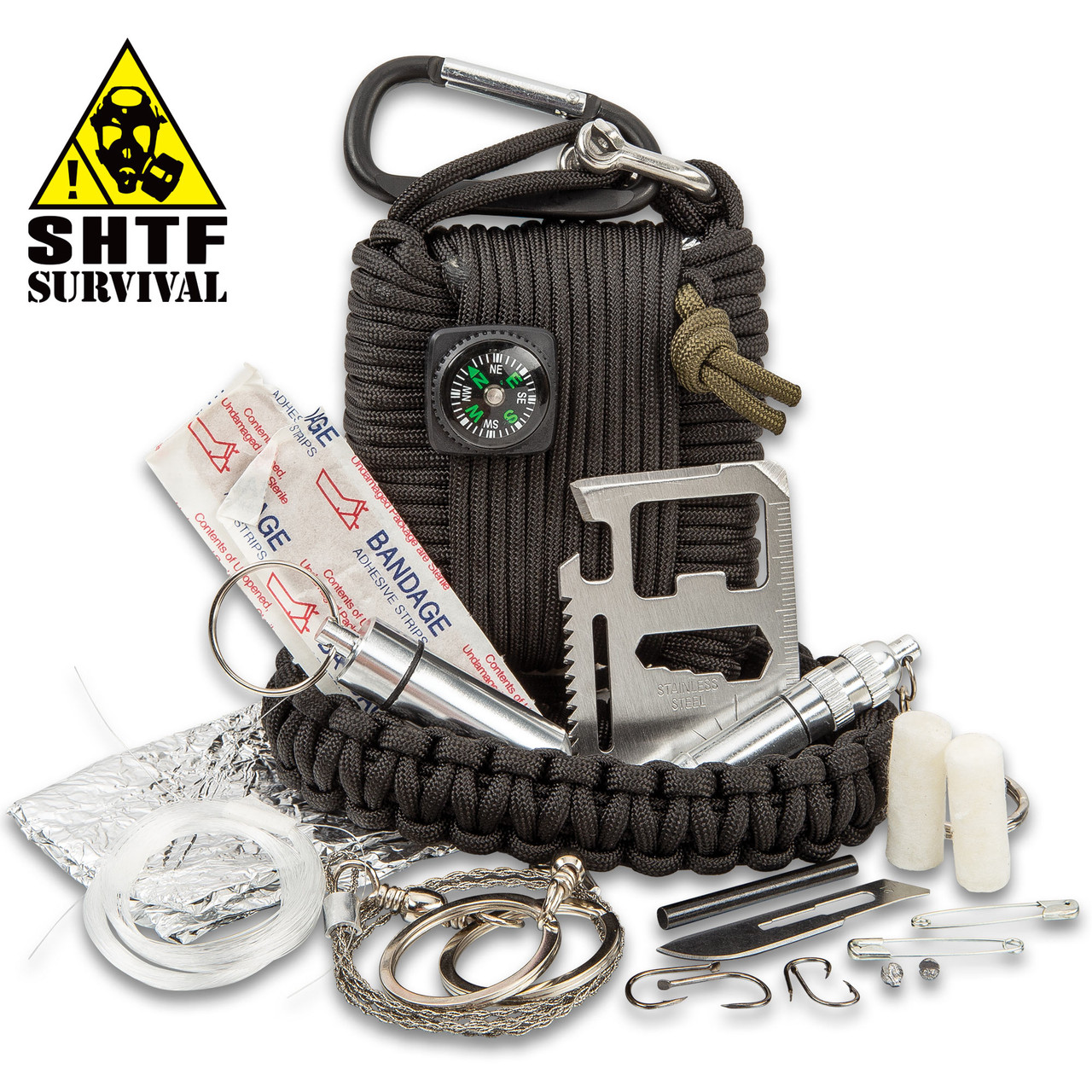 SHTF Paracord Survival Kit With Carabiner - 20 Pieces