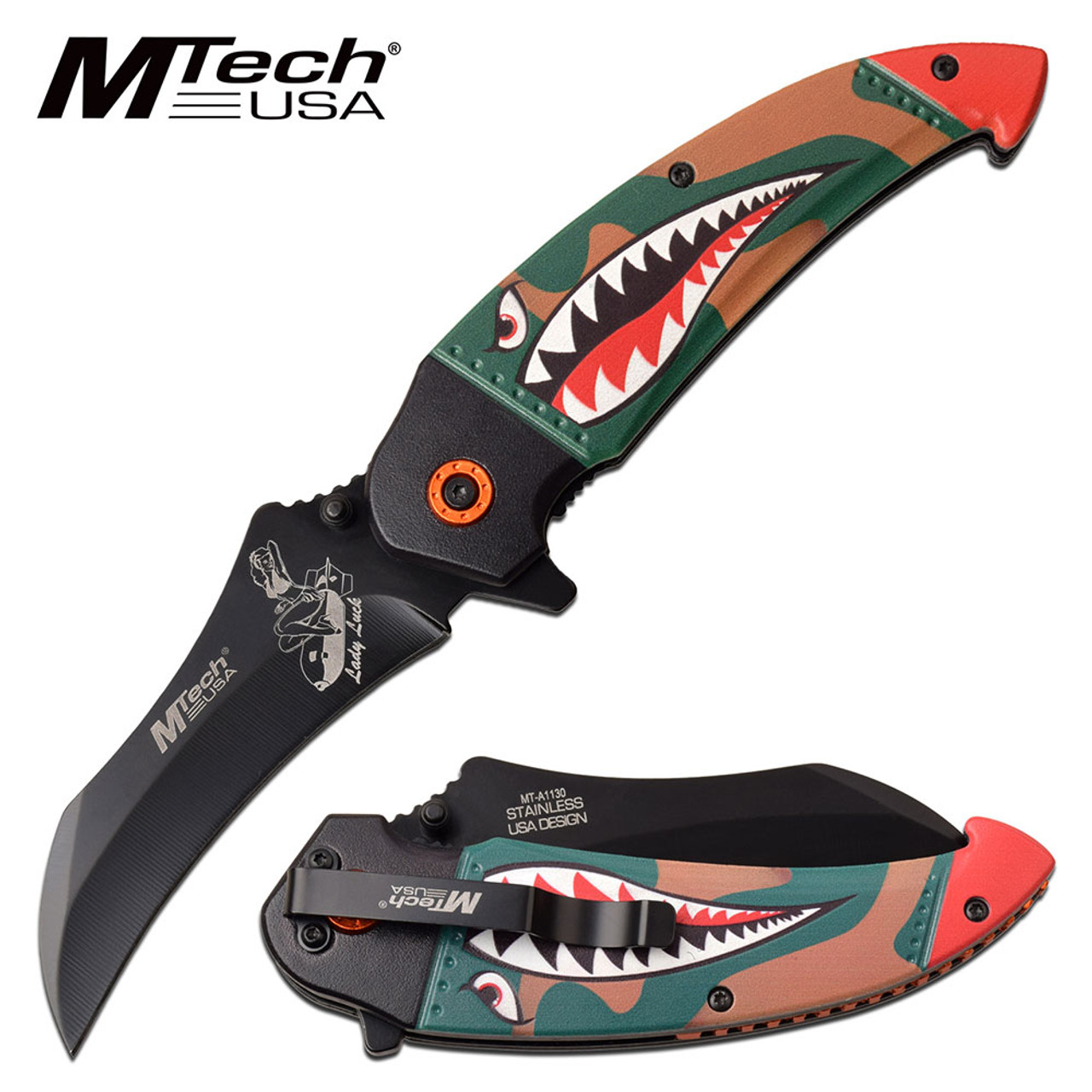 MTECH USA  SPRING ASSISTED SHARK/ LADY LUCK KNIFE