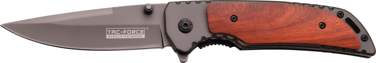 TAC-FORCE Red Wood Straight Grey ASSISTED Folding Linerlock Knife New! TF-888