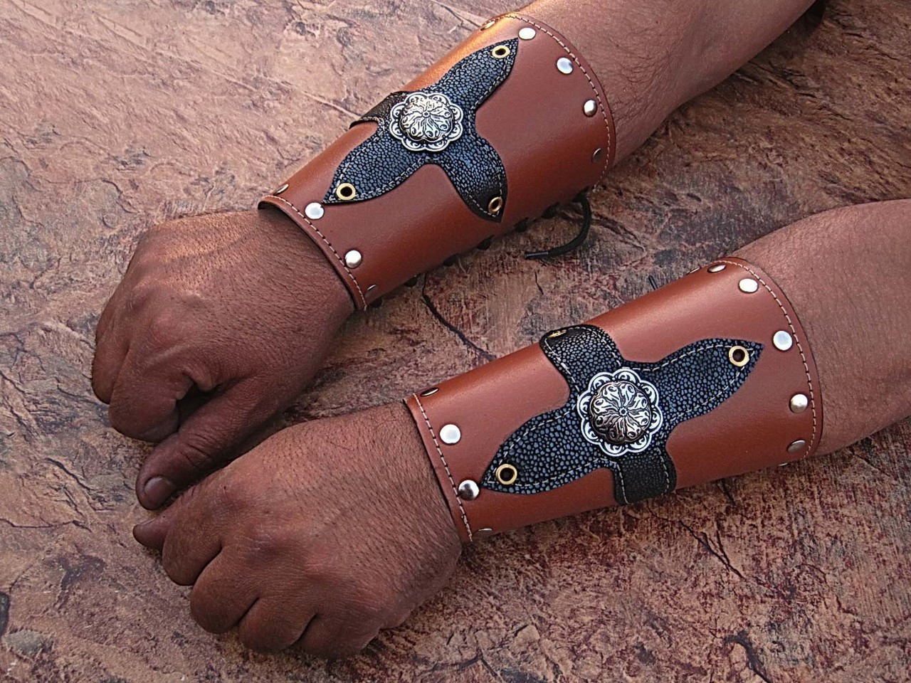 Medieval Leather Bracers Armor Celtic Light Brown Genuine Pointed Top Fantasy Cuff