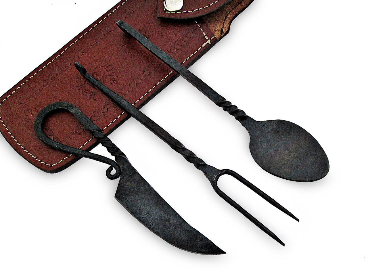 Hand Forged Medieval Eating Utensil Feasting Set Spoon, Knife & Fork