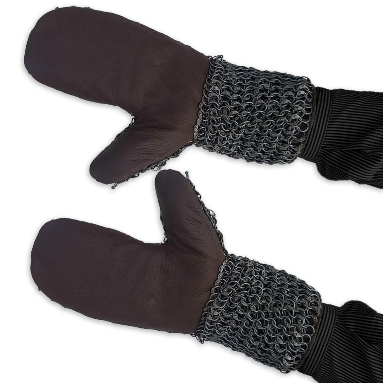 Medieval Riveted Chainmail Padded Gauntlets Gloves Mittens 16ga Carbon Steel
