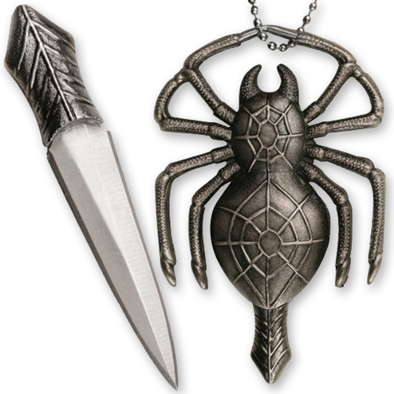 Deadly Spider Neck Knife Necklace Pendant w Ball Chain 2.25in Knife All Metal