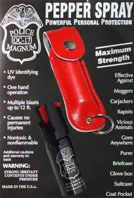 1/2oz Police Strength pepper spray- red leather pouch /keychain