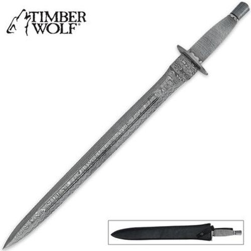 Timber Wolf Medieval Damascus Sword with Sheath