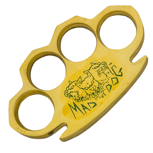 Dalton 10 OZ Real Brass Knuckles Buckle Paperweight Heavy Duty - Mad Dog Green