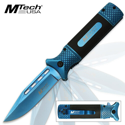 MTech USA Steely Assisted Opening Pocket Knife - Blue TiNi Finish, Black Handle Scales