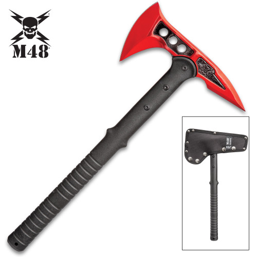 M48 Red Tactical Tomahawk Axe With Snap-On M48 Sheath