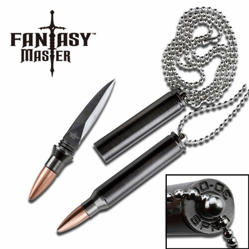 Fantasy Master 30-06 Bullet Replica Neck Knife w Chain Fixed Blade 3.25in 1:1 Scale