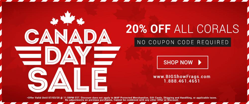 Canada Day Sale! 20% OFF Corals