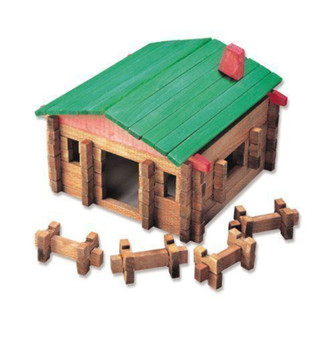 New Classic Roy Toy Log Cabin Playset in Canister 140 Pcs