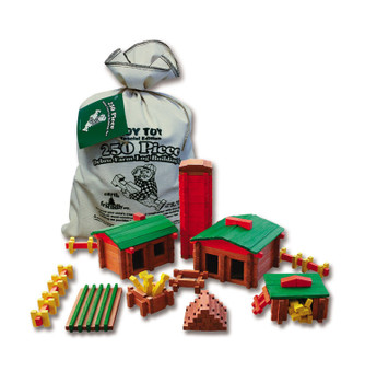 Roy Toy Traditional Log Deluxe Building Set  250 Pcs